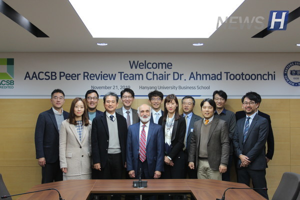 Dr. Ahmad Tootoonchi (Dean of College of Business and Global Affairs, University of Tennessee at Martin, USA), the chair of peer review team, is taking a photo with the HUBS Faculty during his visit to HUBS on November 21st, 2019.