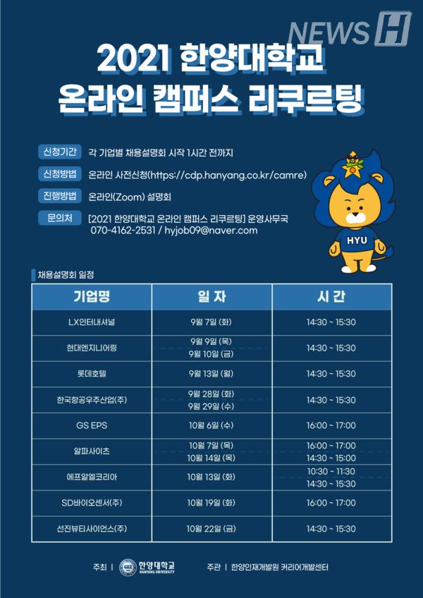 ▲ '2021 한양대 온라인 캠퍼스 리쿠르팅' 포스터